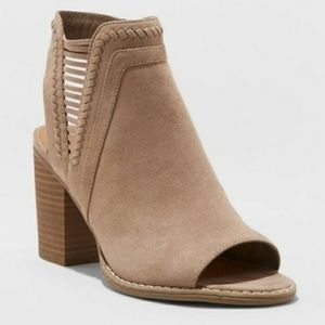 Open Toe Laser Cut Taupe Heeled Booties